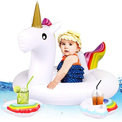 Tacobear Einhorn Schwimmring Schwimmhilfe für Baby Aufblasbar Pool Luftmatratze mit 2 Aufblasbar Regenbogen Getränkehalter Pool Wasserspielzeug Sommer Spaß für Kinder