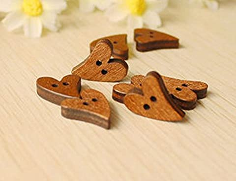 Viskey Pack of 50 Flower Print 2 Holes Wooden Heart