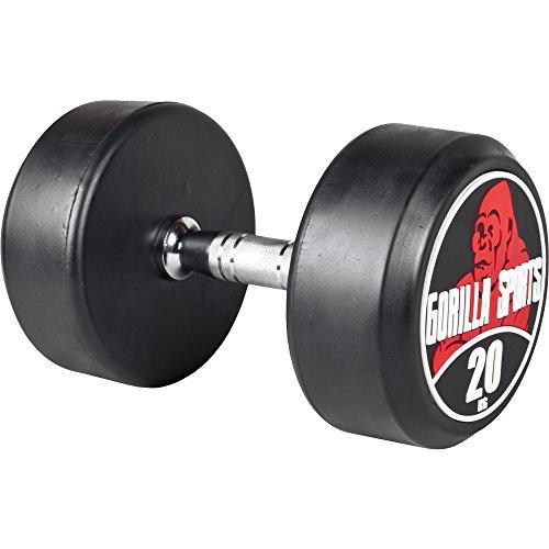 GORILLA SPORTS® Kurzhantel 20 kg - Rundhantel mit Beschichtung und ergonomischen Chrom-Griff