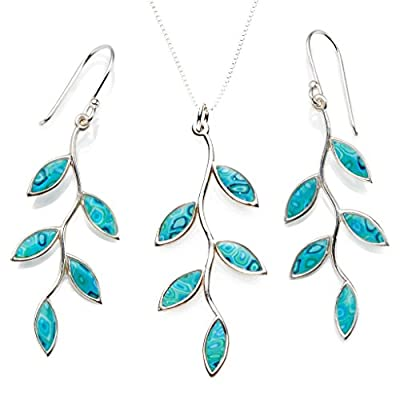 925 Sterling Silver Olive Leaf Jewellery Set Handmade Polymer Clay Necklace and Earrings, 16.5""