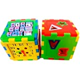 Zest 4 Toyz Educational All In ONE Blocks Set - Multi-Skill: Colors, Counting, ABC, Maths, Clock, Blocks, Puzzle And Much More - Set Of 2