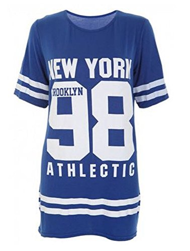 Island Fun Kleider (Janisramone Damen Baseball Brooklyn New York 98 Übergröße Baggy T Shirt Spitze Kleid - Damen, Königsblau, 3XL)