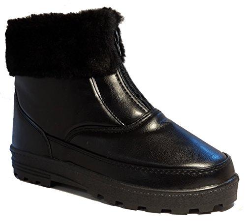 Gefütterte Winterstiefel, Damenschuhe, Modell 1331400112007707, Winterschuhe für Damen, schwarz, braun oder weiß, halbhoch oder noch. Schwarz halbhoch.