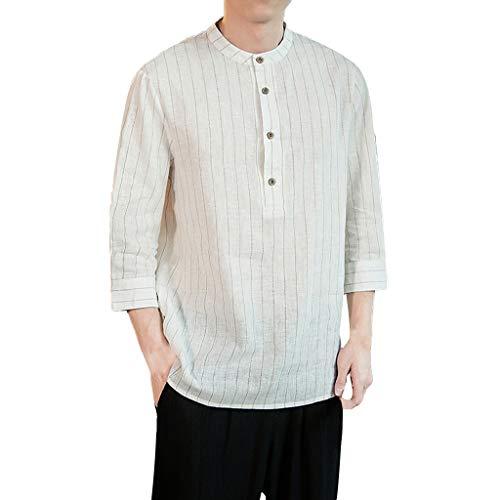 KUKICAT Kurzärmliges Hemd Classic Herren Sommer Button Shirt, Vintage Leinen Volltonfarbe Kurzarm T-Shirt Top, Casual Leinen Baumwolle Ärmel Top gestreiftes Hemd