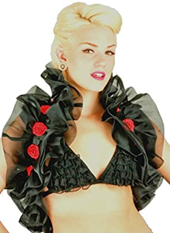 Organza Ruffle Rosette Shawl (One Size (36 inches length excluding satin ribbon), Black with red rosettes)