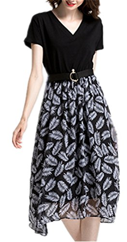Blansdi Damen Elegant Abendkleid Blumenmuster A-Linie Lang Chiffon Ballkleid V-Ausschnitt Rückenfrei Partykleid Festlich Cocktailkleid Schwarz