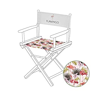 Gardenista Durable Replacement Seat Cover for Directors Chair | Water Resistant & Easy Clean Fabric | Torino Style (Flamingo)