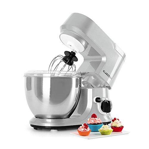 Klarstein Carina Morena • Knetmaschine • Rührmaschine • Küchenmaschine • 800 Watt Leistung • 4 Liter Edelstahlschüssel • 6-stufig einstellbare Arbeitsgeschwindigkeit • bedienungsfreundlich • silber (Fleisch-mixer-maschine)