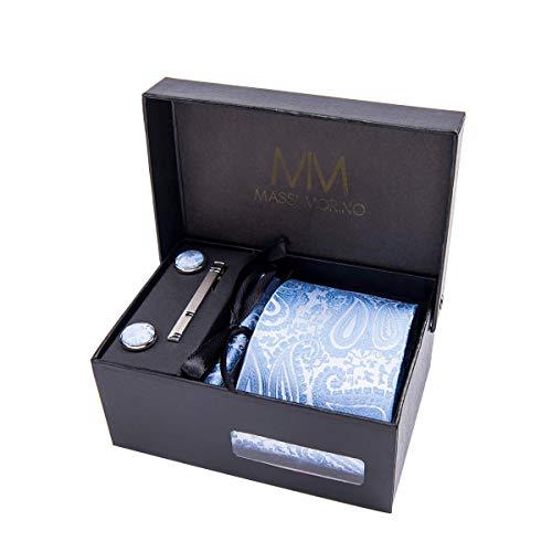 Massi Morino  Set de corbata (caja regalo para hombres) Corbatas de hombre y pañuelos + gemelos + clip de corbata (Paisley azul claro)