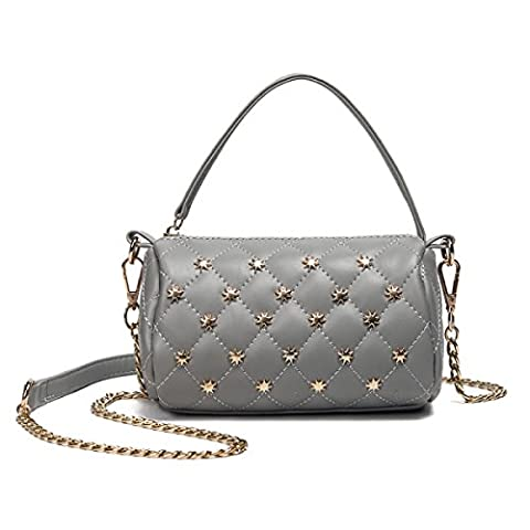 QPALZM Femme 2017 Rivets Brodé Filet Sac à Bandoulière Sac à Bandoulière 2017 Mini Sac à Main Zipper Sac à Main,Grey-OneSize