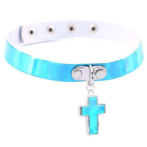 Gnzoe Leder Choker Laserlicht Kreuz Damenkette Tattoo-Halskette Halloween Halsband Cosplay Kostümparty Einstellbar Kette Blau 40CM (Pfeil-leder-gürtel)