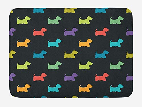 Highland Home Highland Cherry (TKMSH Dog Lover Bath Mat, Colorful Dog Silhouettes West Highland Terriers Canine Cartoon Style Animal Fun, Plush Bathroom Decor Mat with Non Slip Backing, Multicolor,15.7X23.6 inch/40 * 60cm)