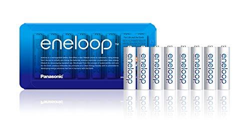 Panasonic eneloop aa Akkus, wiederaufladbare Batterie NiMH inkl. Akkubox - 8er Pack, 8X 1,2V, NiMH