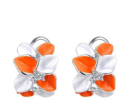 Orange und weiße Blütenblätter mit Kristalle platiniert Ohrstecker (Blütenblatt Bekleidung)