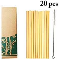 JUSTDOLIFE JUSTDOLIFE 10PCS Bamboo Straw Creative Drinking Straw Party Straw Beverage Straw with Brush