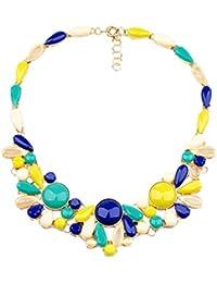 QIYUN.Z Collar De Oro Con Cuentas Collar De Gargantilla Babero Amarillo Flor De Resina Azul