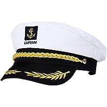 Amosfun Capitán Adulto Sombrero de Cosplay Gorra Yate Barco Navegante  Marinero Almirante Marino (Blanco) eb7caf4fbba