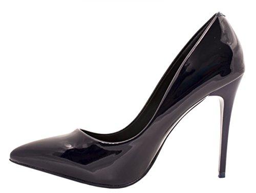 Elara Spitze Damen Pumps | Bequeme Lack Stilettos | Elegante High Heels Dunkelblau Pearl