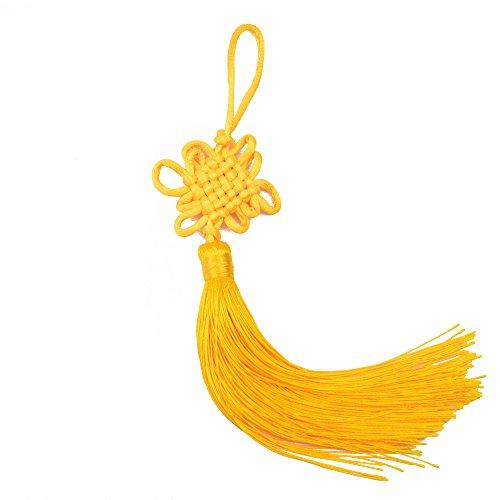 Makhry 10 Stücke 8,5 Zoll Handgemachte Silky Floss Chinesische Quaste mit Satin Seide Gemacht Chinesische Knoten für Tür und Auto Übergabe Dekoration, DIY Handwerk (Gold)