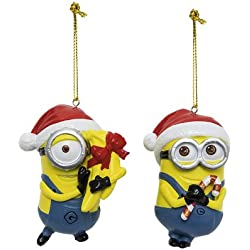 Joy Toy 91142-2 - Minions Christbaumschmuck in Polyresin, 2 Motive, 9 cm