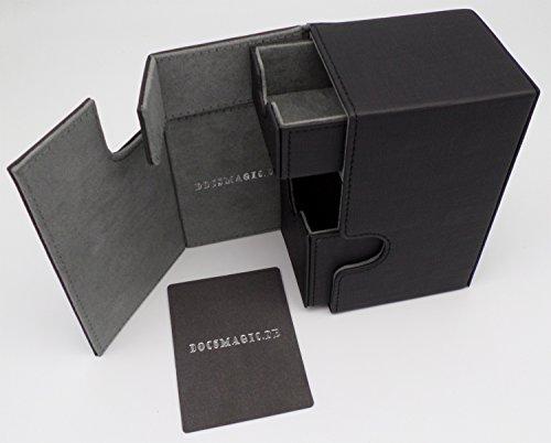 docsmagic.de Premium Magnetic Tray Box (100) Black + Deck Divider - Magic - Pokemon - Yu-Gi-Oh! - Kartenbox Schwarz -