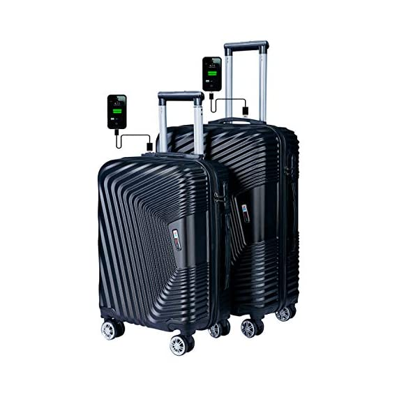 3G Combat 8018 Series 4Wheel Hard Sided Luggage ABS Set of 2 Trolley Travel Bag Suitcase (20 inch & 24 Inch)