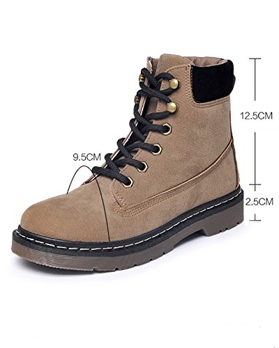 Minetom Donna Autunno Inverno Lace Up Martin Boots Stivali Moda Stivaletti Corti Cavaliere Sneaker Cachi