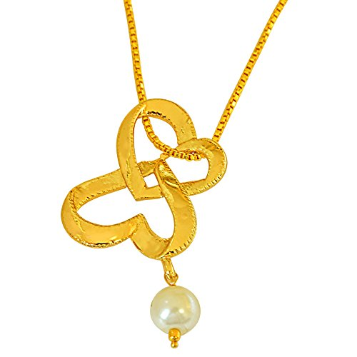 Surat Diamonds Double Heart Shaped Gold Plated and Shell Pearl Pendant for Girls with Chain (SDS254)