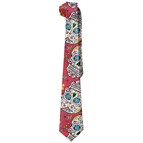 uykjuykj Sugar Skull Cross Flower Fashion Neck Tie Skinny Ties Elegant Necktie Formal Party Suit Necktie For Men