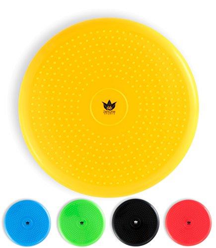 ZenBalance Sitzball Kissen 33 cm inkl. Pumpe I Aufblasbares Luftsitzkissen zum aufrecht Sitzen mit GRATIS E-Book & Workout-Guide I Balance Pad Kissen für Gleichgewichtstraining (Gelb)