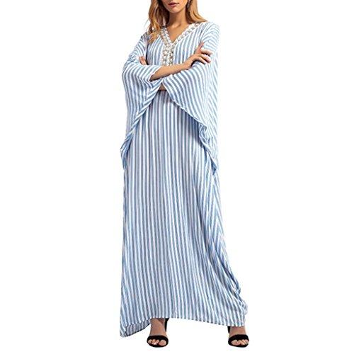 MIRRAY Damen Streifen Strass Langes Kleid Islamischen Muslimischen Nahen Osten Maxi Robe Kleider
