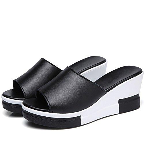 ZHANGRONG-- Moda estate pantofole selvatici Le donne all'aperto pista usura con pantofole Muffin testa spessa crosta di pesce pantofole tacco alto Sandali in bianco e nero e pantofole (Format de facul B