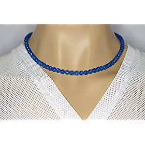 Achat Halskette blaue Achat Kugeln facettiert Größe ca. 6 mm Verschluss 925er Sterling-Silber Nr. 5026H