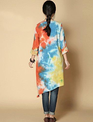 Vogstyle Damen Print Muster Runder Kragen Kleidung Unregelmäßige Saum Tops Orange