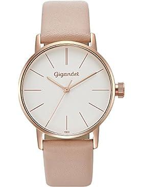 Gigandet Damen-Armbanduhr Minimalism Quarz Uhr Analog Lederarmband Rotgold Weiß G43-014