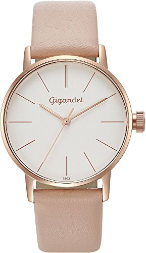 Gigandet Women's Quartz Wrist Watch Minimalism Analogue Leather Strap Rose Gold White G43-014