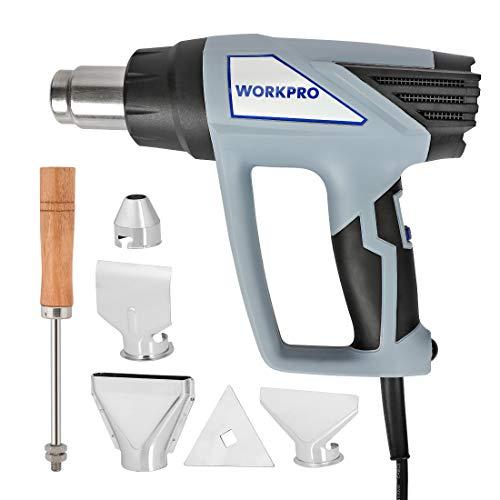 WORKPRO Pistola de Aire Caliente Decapadora Profesional 1800W 230V/50Hz Cable de 2m con 4 Boquillas y Raspador 50-380-580℃ 300-500 L/min