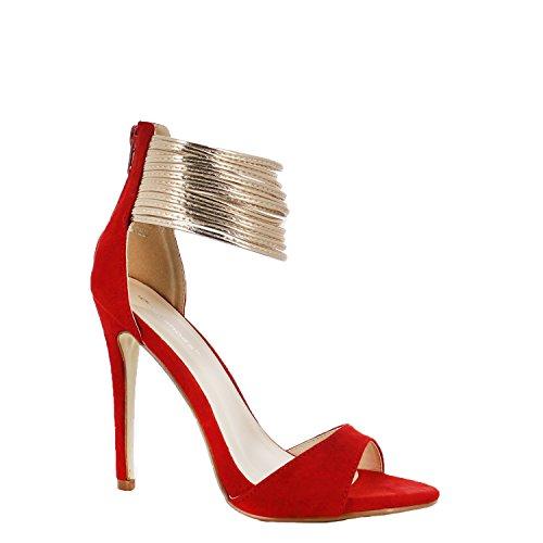 Ideal Shoes - Escarpins effet daim avec multi brides nacrés Macie Rouge