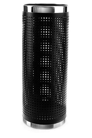 Brelso Super Quality Umbrella Stand, Umbrella Holder, Black Finished Metal, Perforated Sides To Dry Umbrellas Faster, Stainless Steel Rims