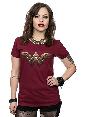 Dc comics donna wonder woman logo maglietta medium borgogna