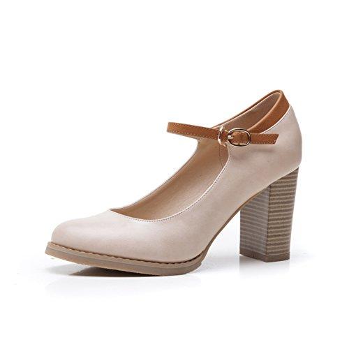 Shallow chaussures de hauts talons de bouche à l'automne/Serre-tête femme high heels/ chaussures rétro chunky talons d'Angleterre A