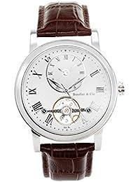 Boudier & Cie B15H10- Reloj analógico de pulsera para hombre (automático), correa de cuero café/marrón