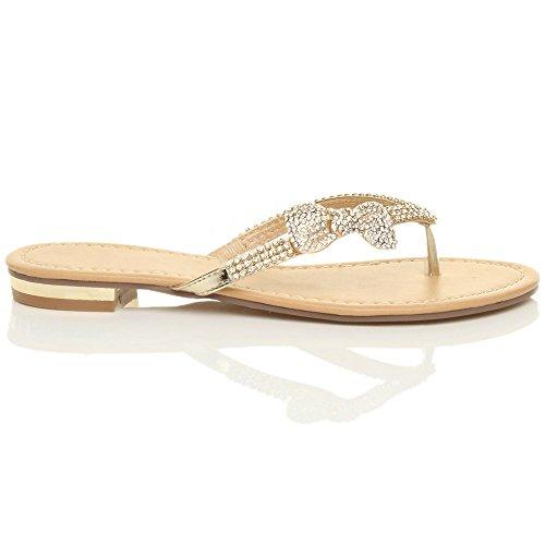 Femmes plat talon bas strass mariage de plage été élégante tongs sandales taille Or