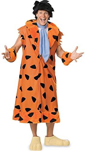 Fancy Me Herren 5 Stück Deluxe Fred Feuerstein Perücke 1960s Jahre Halloween Kostüm Kleid Outfit STD & XL - Orange, Orange, - Fred Feuerstein Kostüm Für Erwachsene