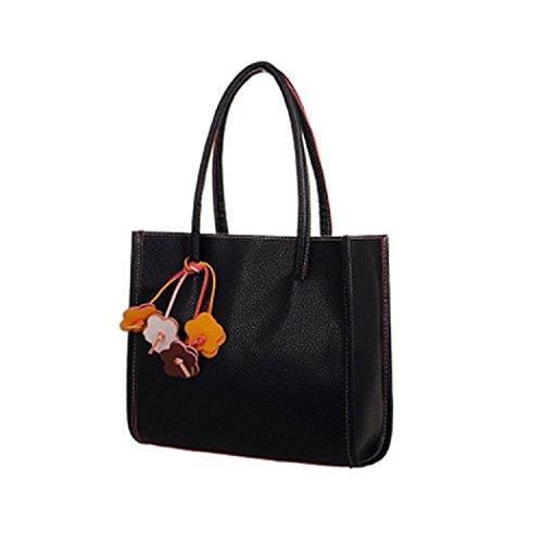 TIFIY Damen Solide Kleiner Anhänger PU-Leder Reißverschluss Handtasche Schulter Tasche Schwarz
