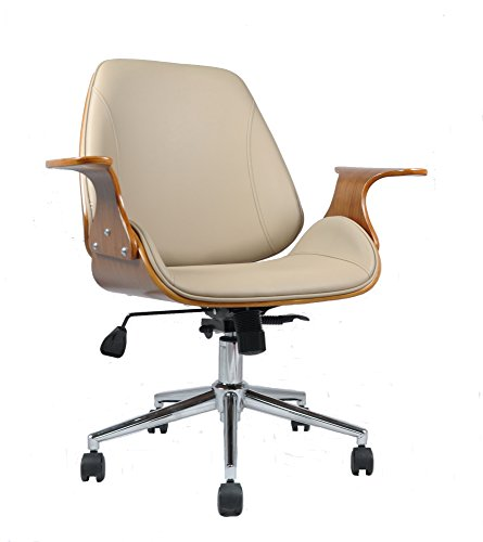 CHELSEA OFFICE CHAIR-Beige Faux Leather (Möbel Leder-zeitgenössische)