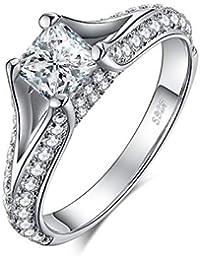 566038d2f9b805 JewelryPalace 2.3ct Principessa Taglio Cubic Zirconia Solitario CZ Pave  Shank Anello di Fidanzamento in Argento