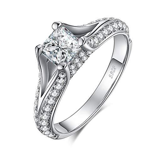 JewelryPalace 2.3ct Principessa Taglio Cubic Zirconia Solitario CZ Pave Shank Anello di Fidanzamento in Argento Sterling 925