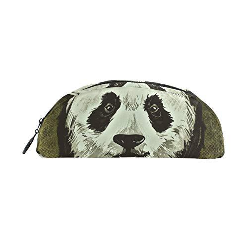 Stifteetui, Panda-Motiv mit Sonnenbrille, halbrund, große Kapazität, für Make-up, Kosmetik, Büro, Reisetasche