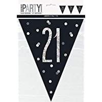 ****OVER 7m of SUPER BLING FLAG BUNTING in DAZZLE BLUE, PINK or BLACK - 13th to 100th - 24 PENNANTS - FREE UK POSTAGE**** (21st Birthday, Black)
